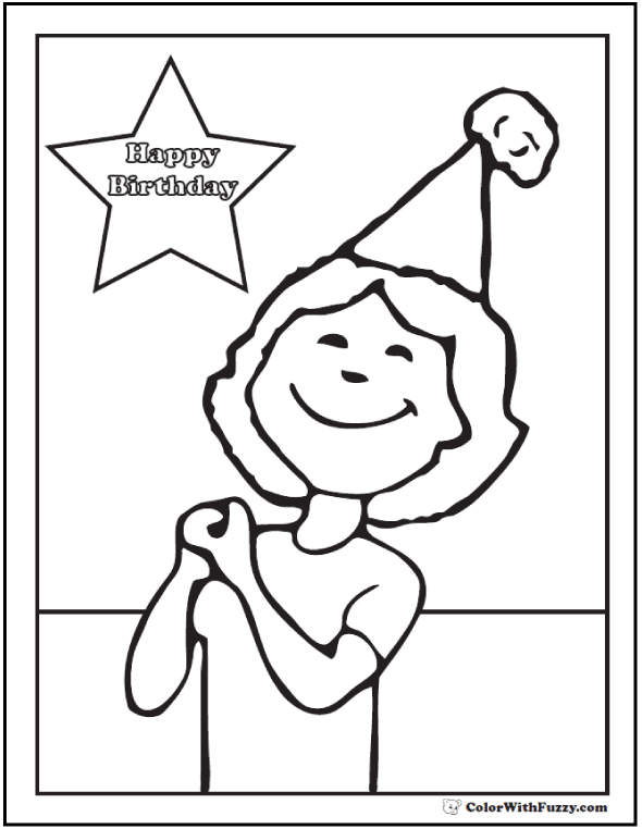 Birthday Cake Coloring Pages For Mom Dad Grandma Grandpa