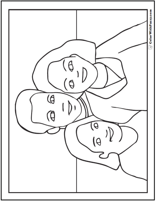 Happy Father's Day Coloring Pages: Father, Mother, Daughter