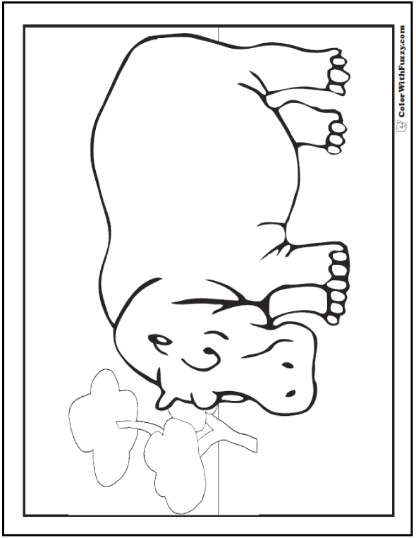 Hippo Coloring Pages: H Is For Happy Hippo
