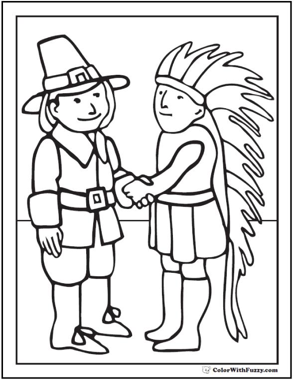 Indian Pilgrim Coloring Sheet: Buckles, Hat, Headdress