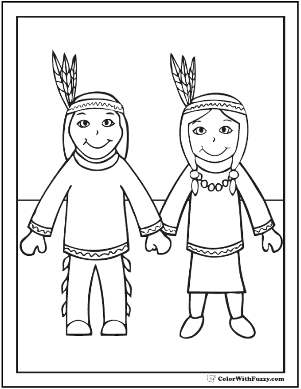 Native Indian Coloring Sheet: Cute Boy And Girl