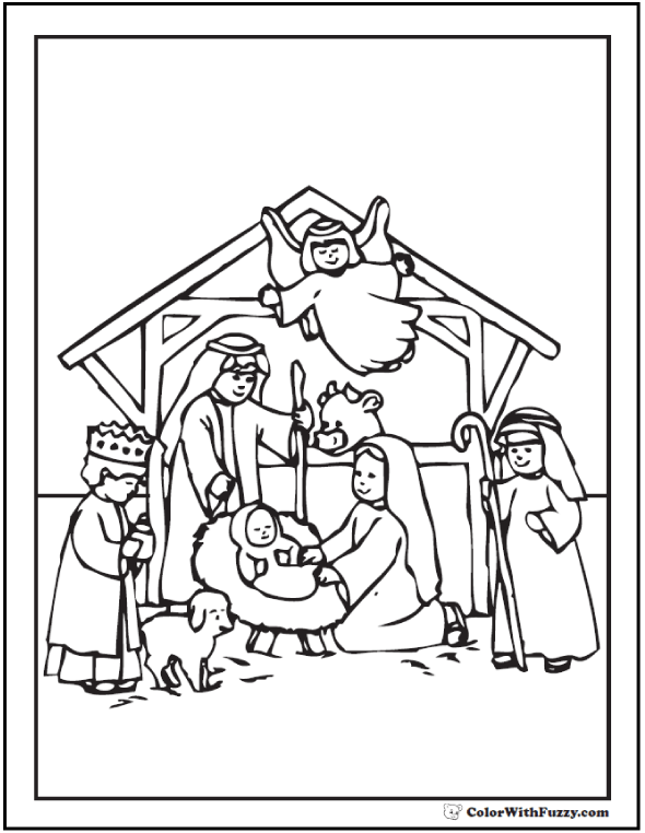 Nativity Scene Coloring Sheet Angel And Holy Family