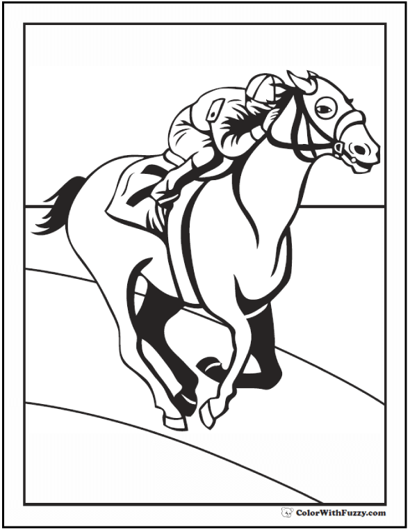Horse Coloring Page: Riding, Showing, Galloping