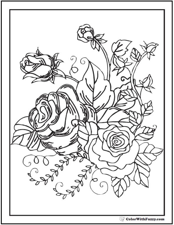 73+ Rose Coloring Pages: Customize PDF Printables