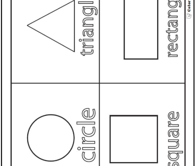 Shape Coloring Pages  E C A Color Squares Circles Triangles