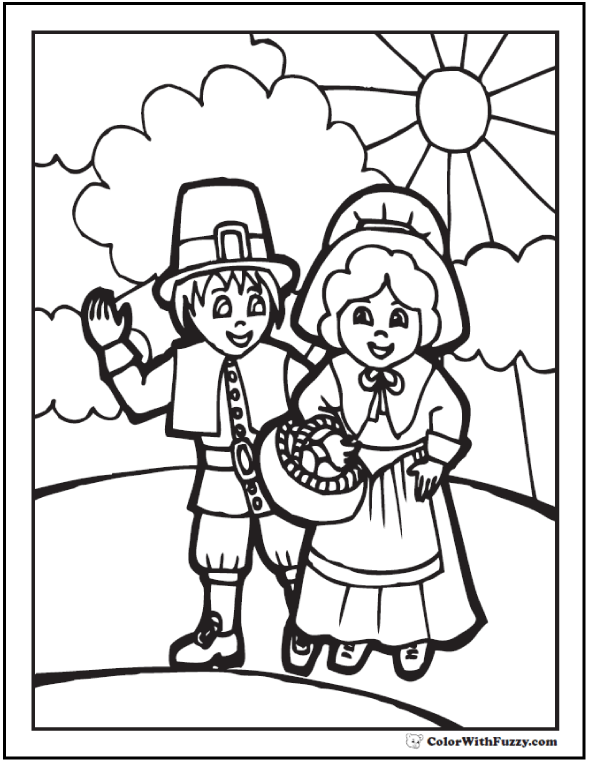 Thanksgiving Coloring Page Pilgrims With Basket