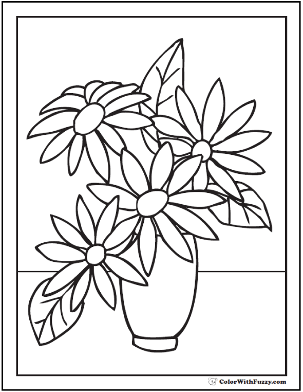 102+ Flower Coloring Pages Customize And Print Ad-free PDF | colouring pages flowers in a vase