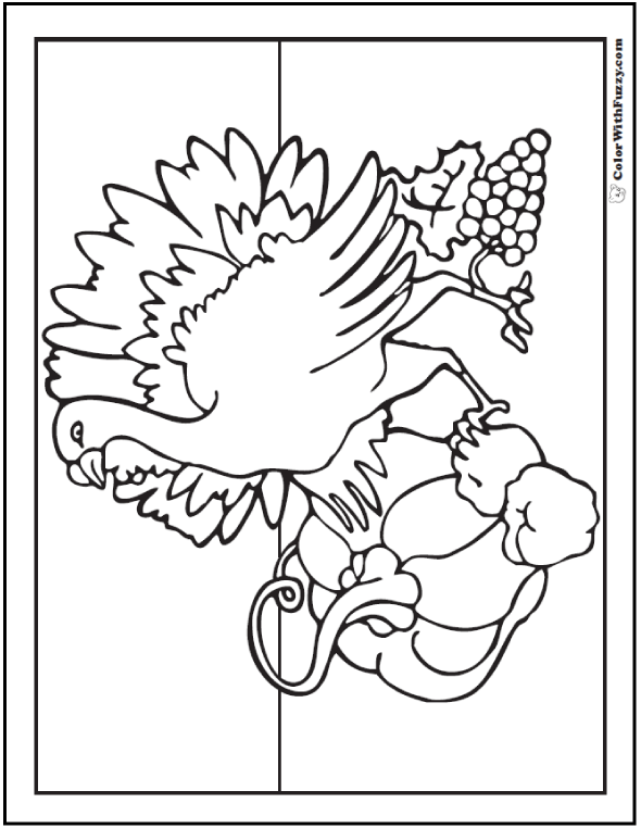 Wild Turkey Coloring Pages Printable: PDF