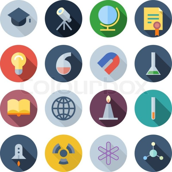 Flat Design Icons Science And Education. Vector