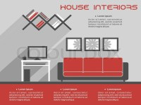 House interior design infographic template showing a ...