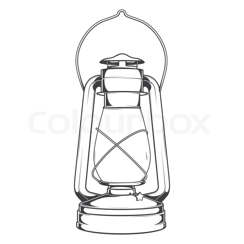 Antique Old Kerosene Lamp isolated on a white background