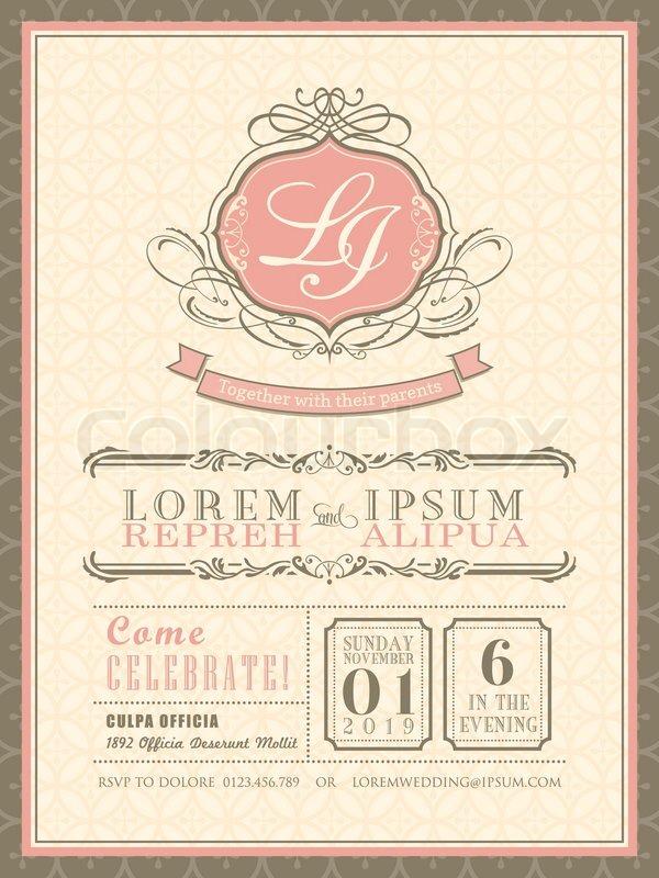 Vintage Pastel Wedding Invitation Card Background Template