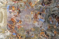 Rome, Italy. Famous painting in the ceiling of Gesu Church ...