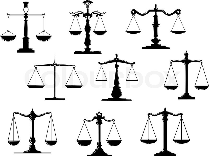 Black law scale icons with balance position isolated on