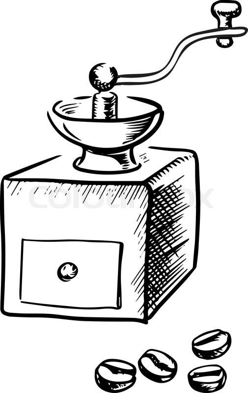 Vintage manual coffee grinder with coffee beans, sketch
