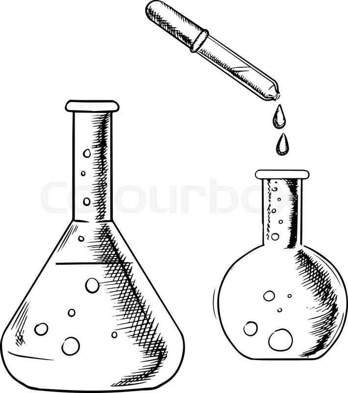 Glass dropper and chemical laboratory flasks isolated on