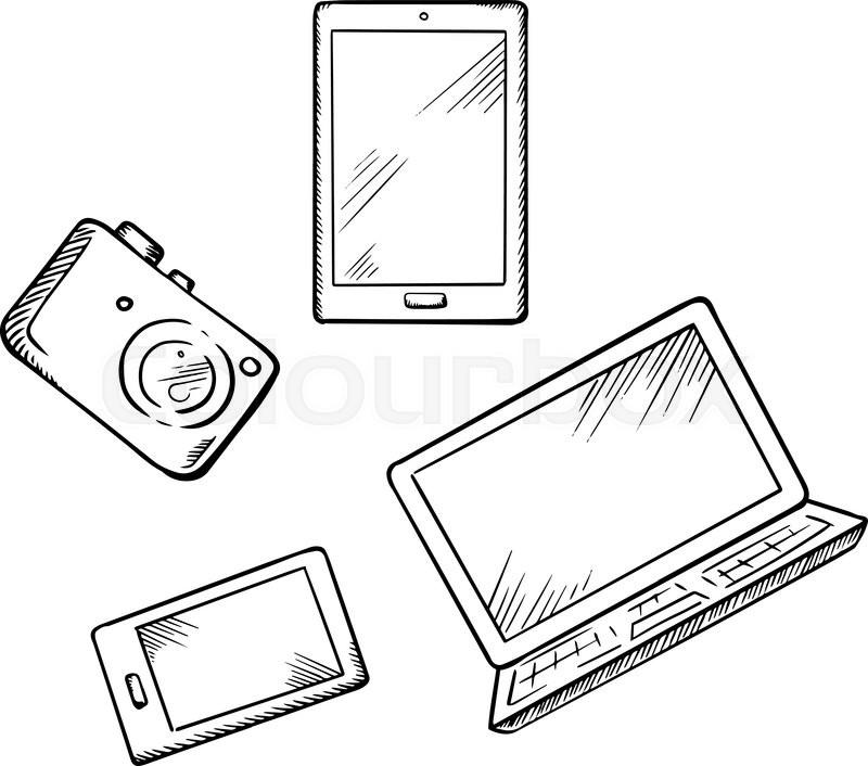 Sketch of modern smartphone, tablet pc, laptop and digital