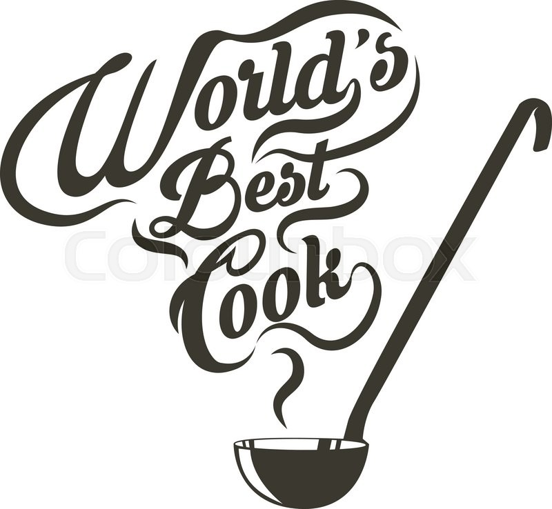 Ladle with the slogan world best cook. Vector illustration