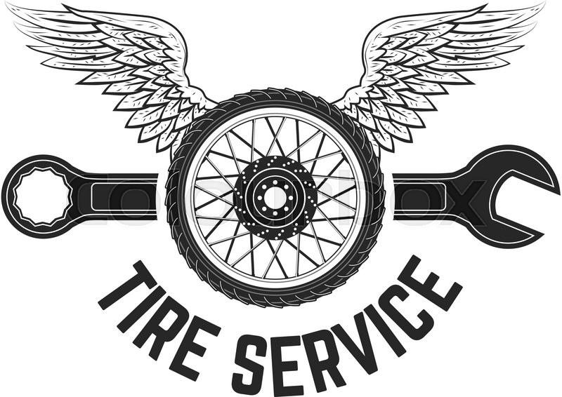 Tire service vintage label. Logo, label or emblem template