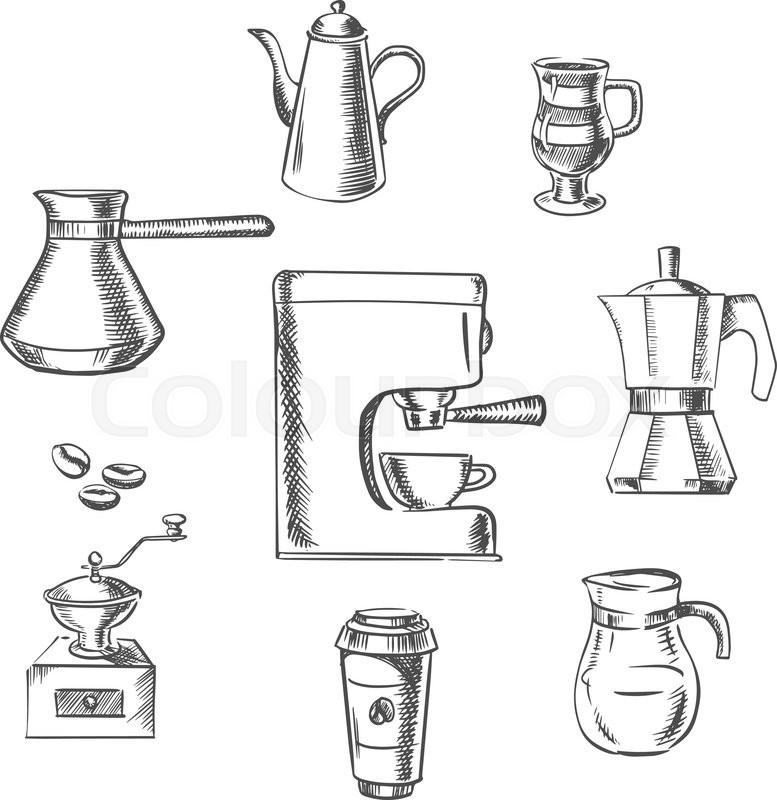 Beverage icons with grinder, kettle, pot, sugar, beans