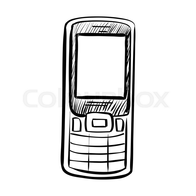 Hand drawn sketch of doodle phone outlined isolated on