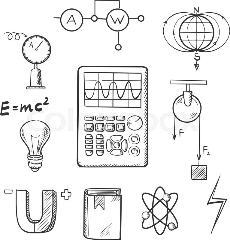 Science sketch icons set with symbols of physics such as
