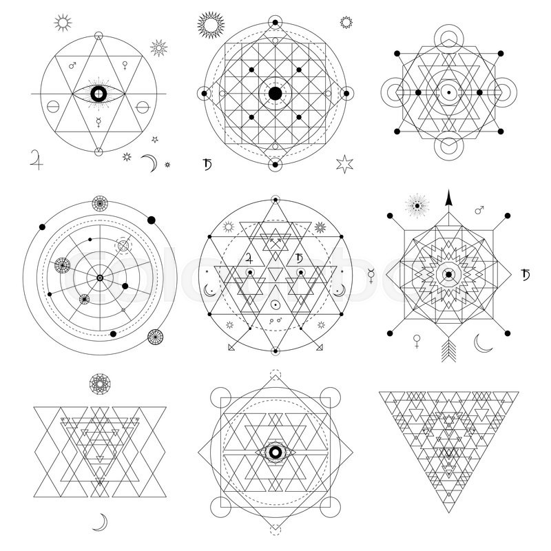 Abstract Mystical Geometry Symbol Vector Linear Alchemy