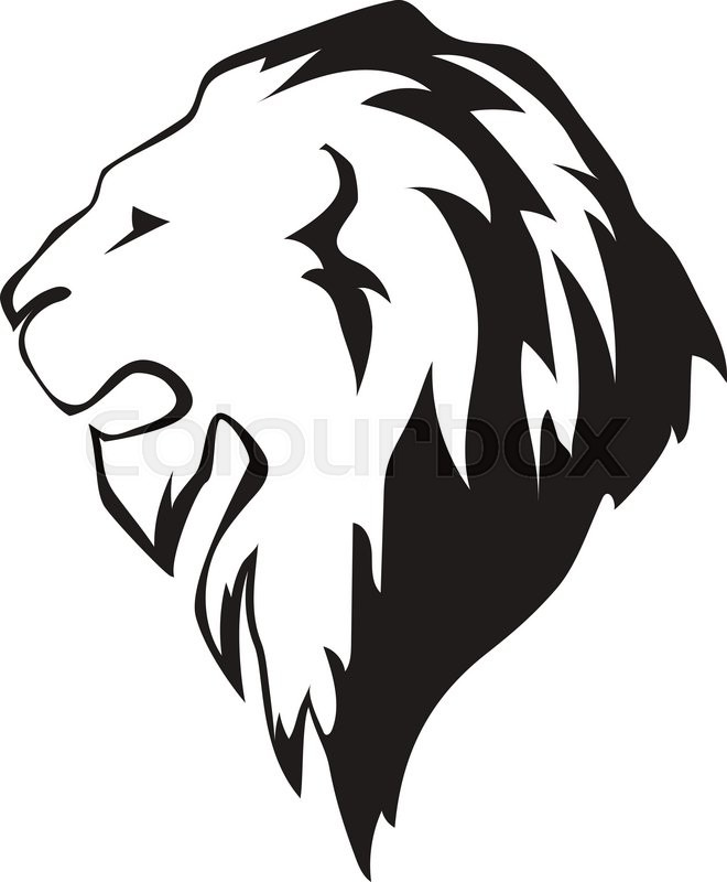 Lion head in profile. Template Logo for your design