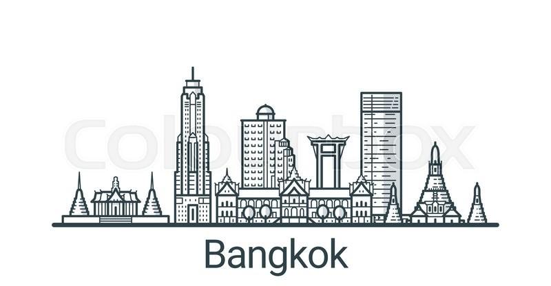 Linear banner of Bangkok city. All buildings