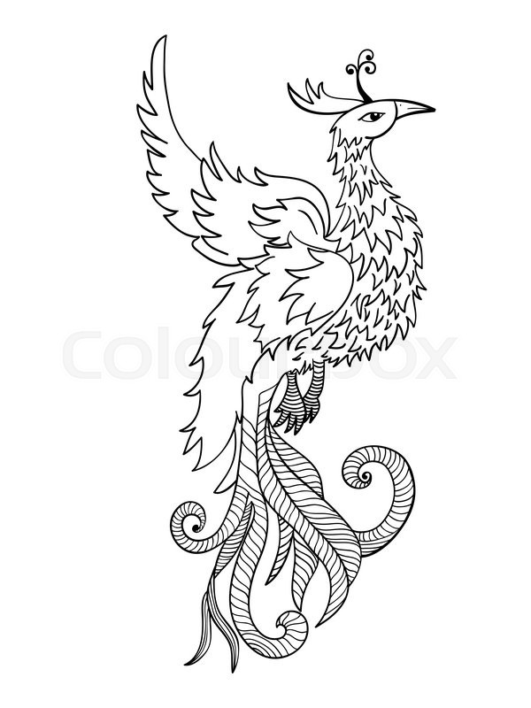 Chinese traditional red phoenix. Feng Shui symbolize fire