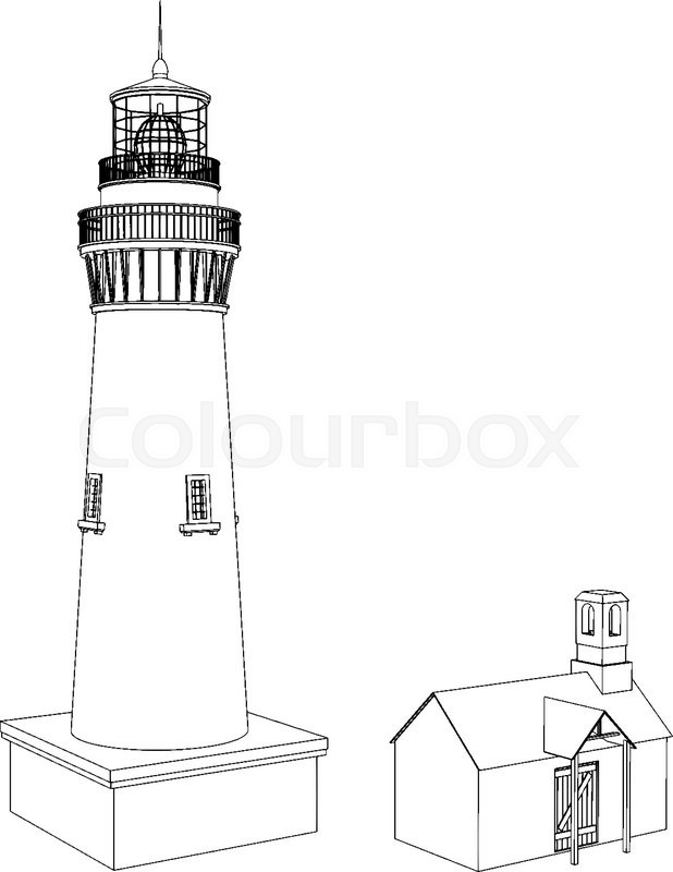 Vector Silhouette lighthouse on a light background , black