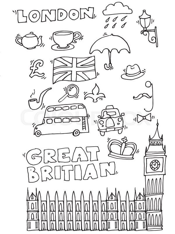 Vector hand drawn London set with elements Big Ben clock