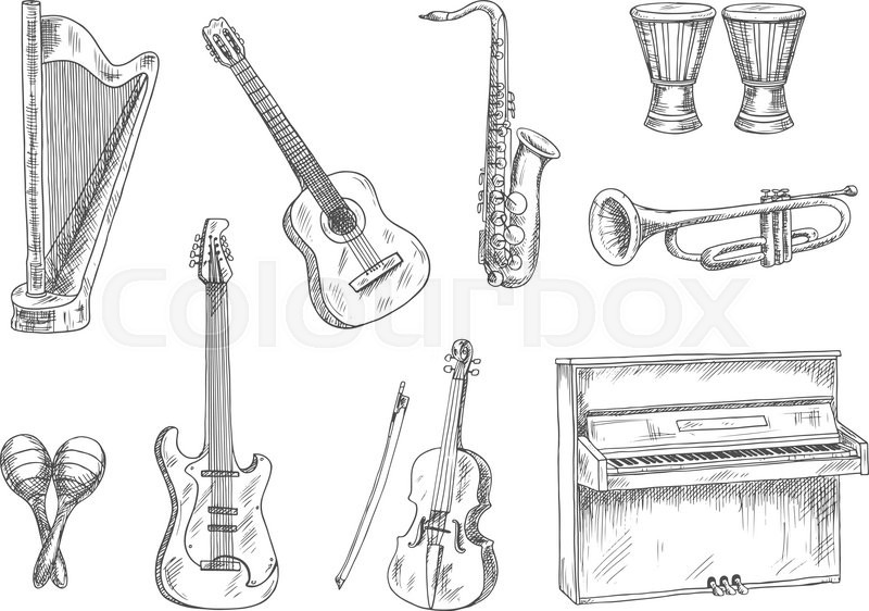 Classic acoustic and electric guitars, saxophone, violin