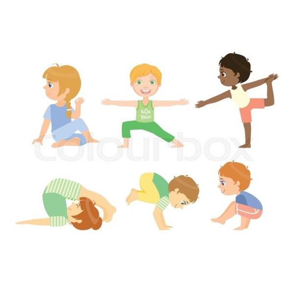 Kids Advanced Yoga Poses Bright . Stock Vector