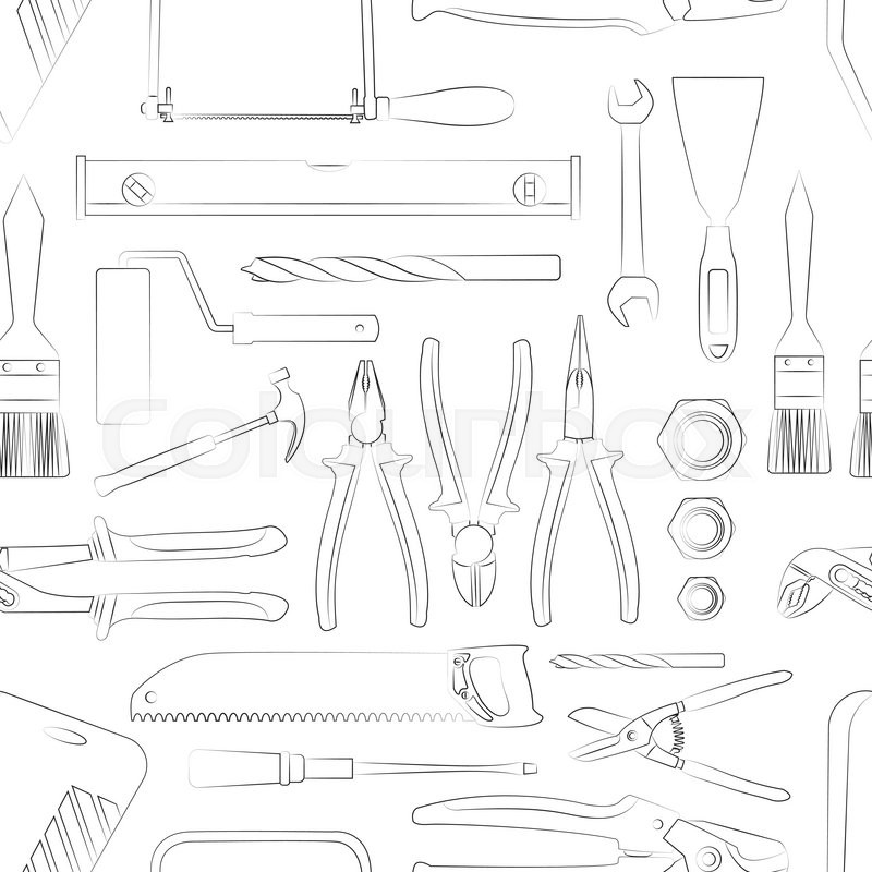 Construction tools pattern of hand drawn icons. Vector