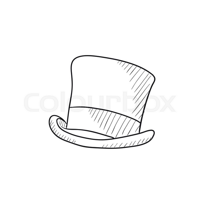 Top hat sketch icon for web, mobile and infographics. Hand