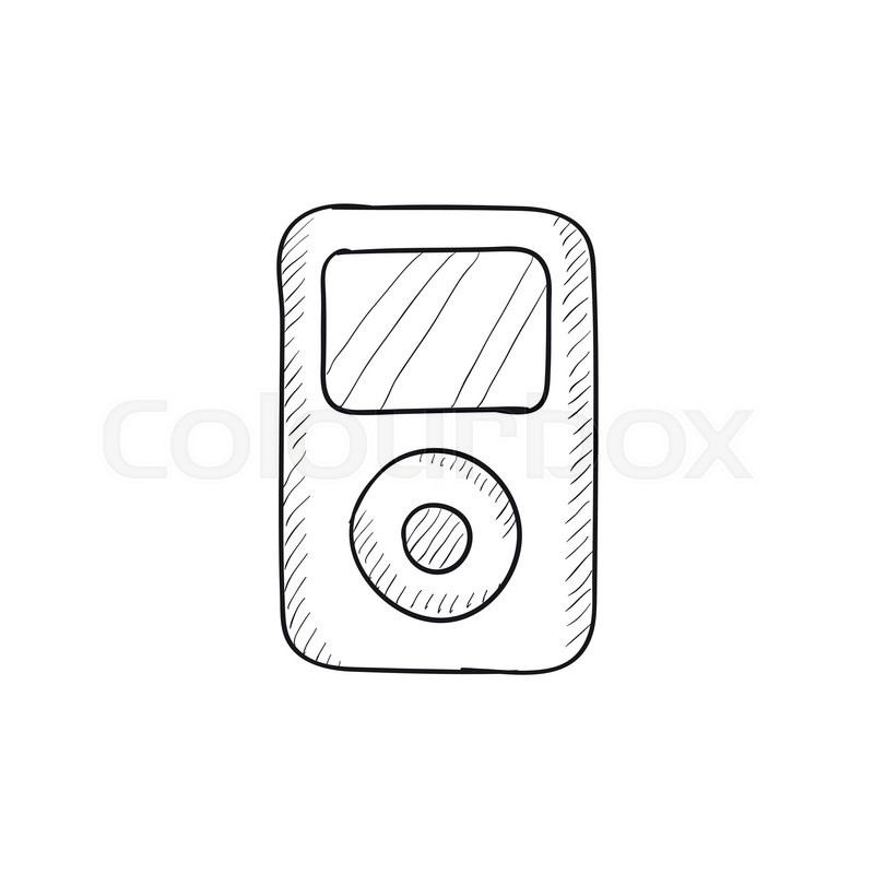 MP3 player vector sketch icon isolated on background. Hand