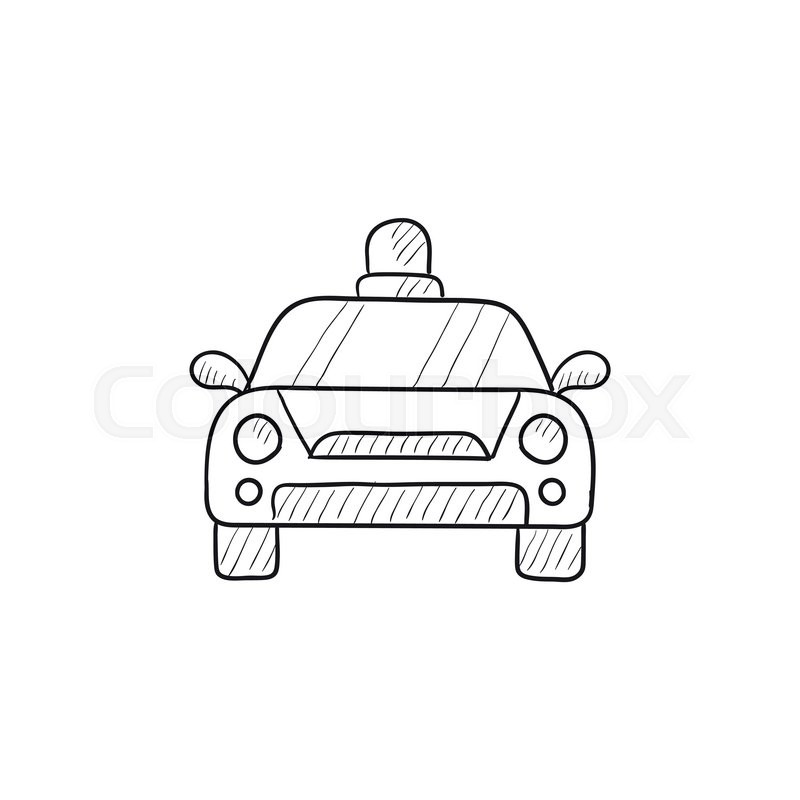 Police car vector sketch icon isolated on background. Hand