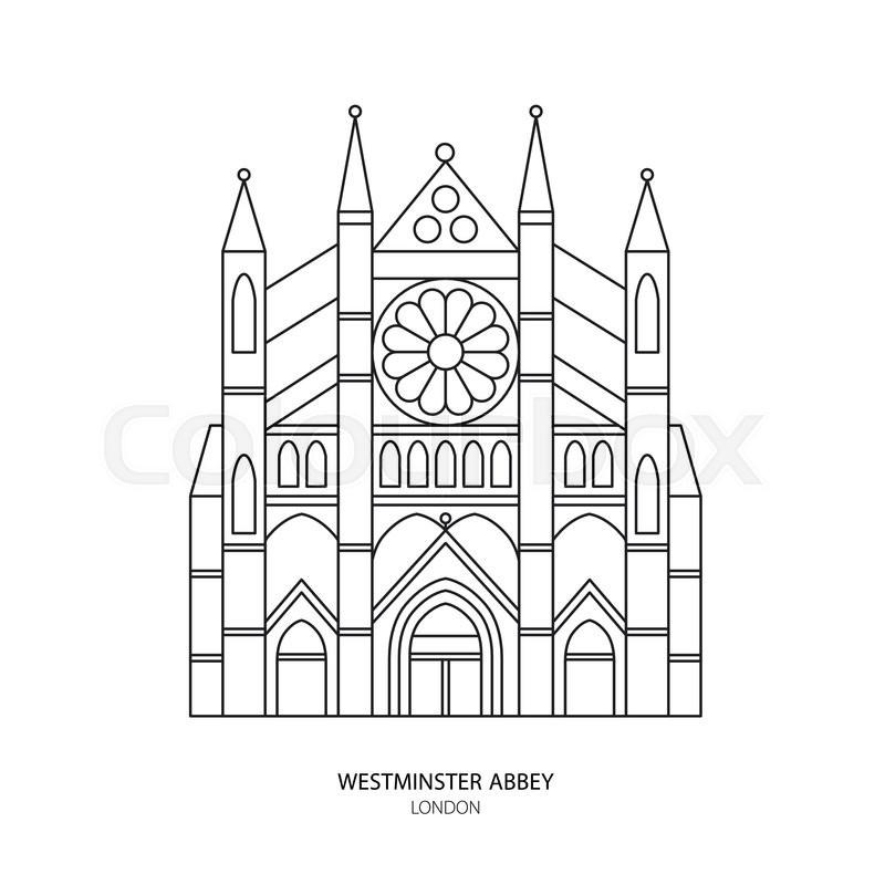 Westminster Abbey, London landmark vector illustration