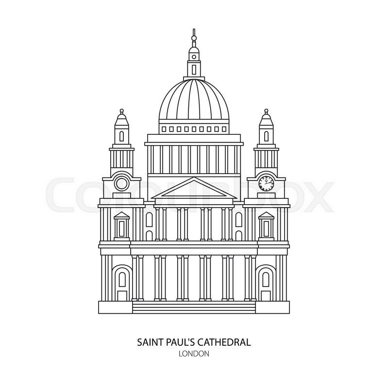 St. Paul's Cathedral, London landmark vector Illustration