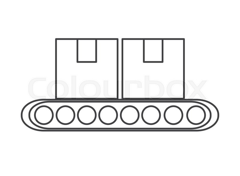 Conveyor belt factory industry icon Isolated vector