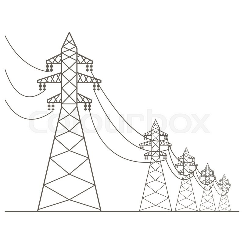High voltage electric line pylon. Icon set suitable for