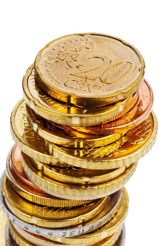 A Pile Of Euro Coins On A White Background