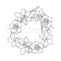 Round frame of spring flowers, decoration element, sketch ...