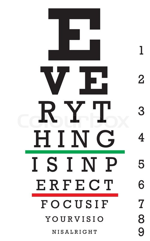 An eye chart with a hidden message that reads EVERYTHING