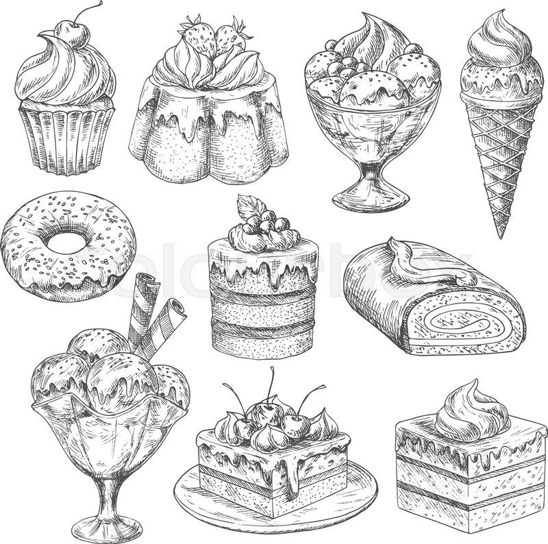 Bakery desserts sketch vector icons. Pastry cakes and
