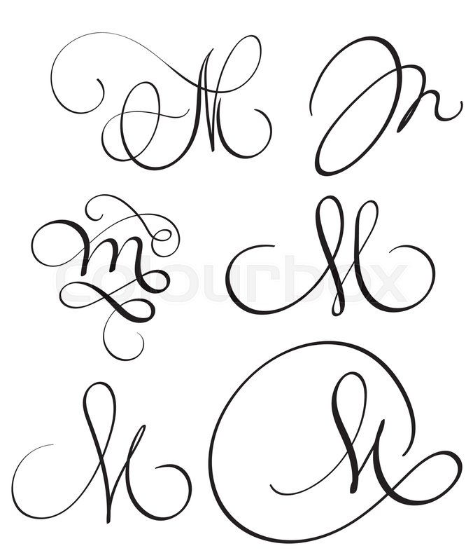 Set of art calligraphy letter M with flourish of vintage