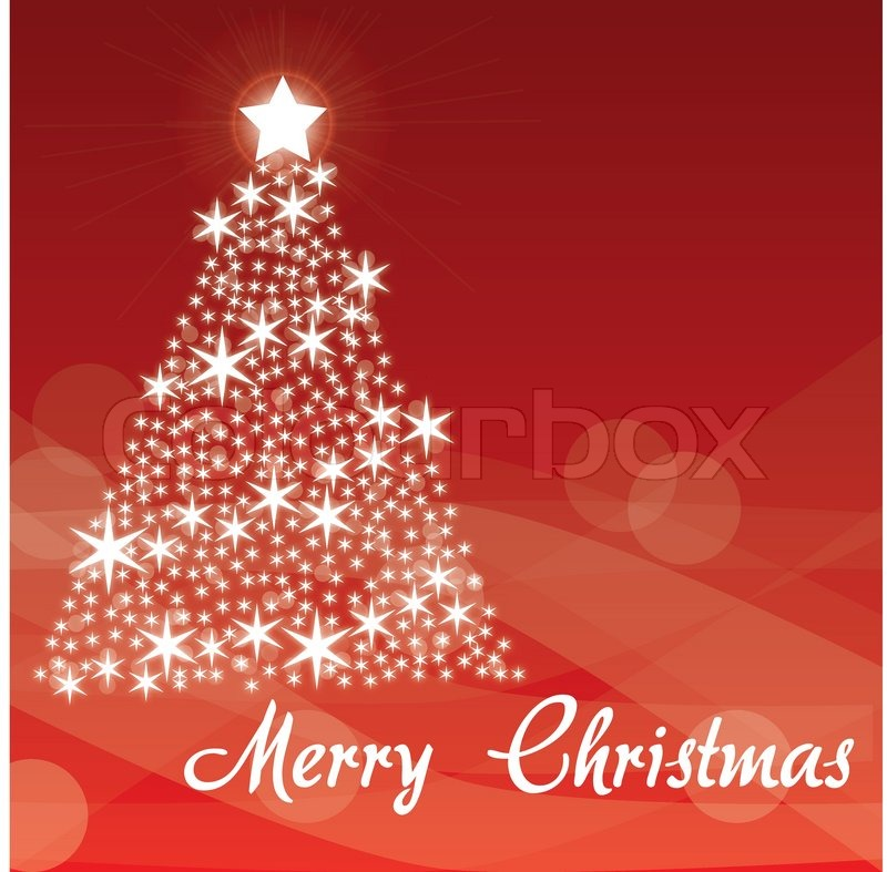 Merry Christmas Red Background White Tree Stock