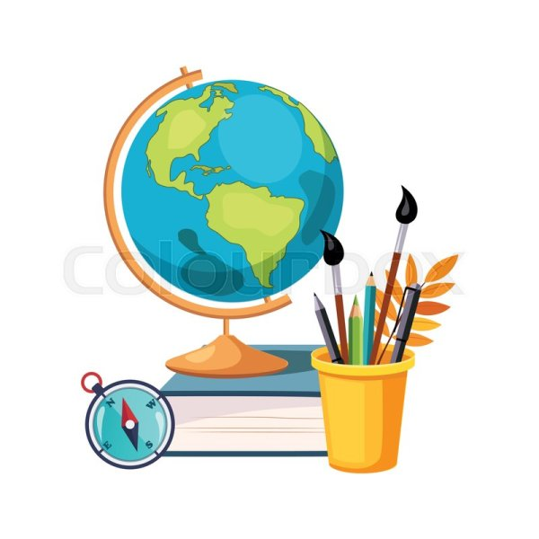 Geography Globe And Writing Tools . Stock Vector