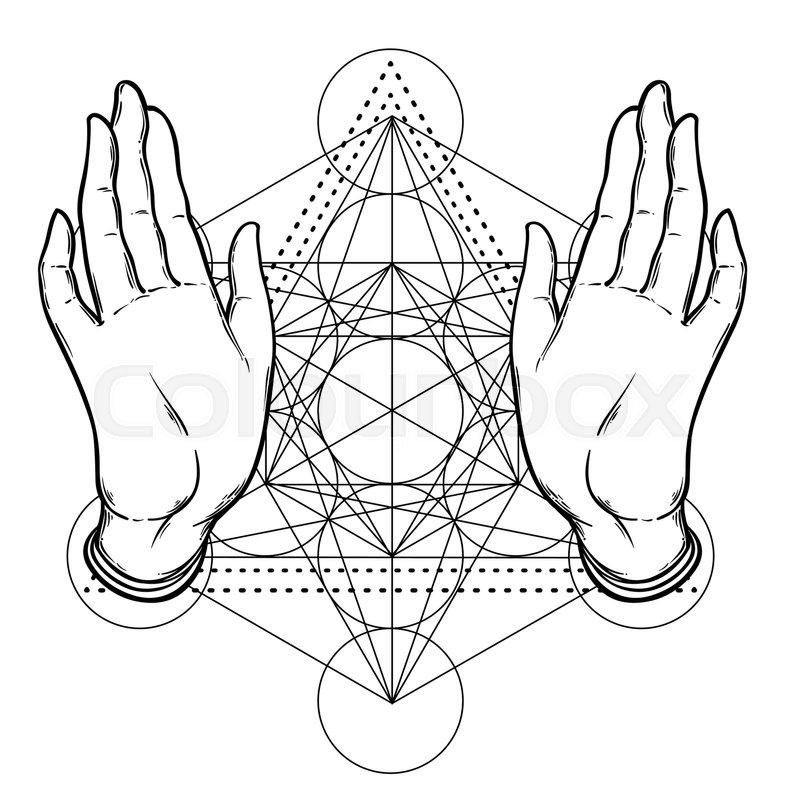 Open hands over sacred geometry, Metatrons Cube, Flower of
